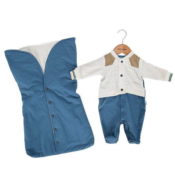Kit Saída da Maternidade Sweet Boy - Branco e Azul - Paraíso