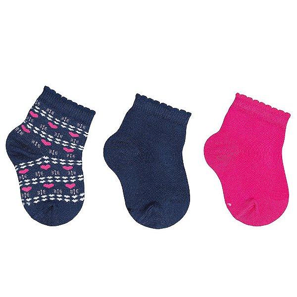 Kit de Meias Baby - 3 Pares - Pink e Marinho - Lupo