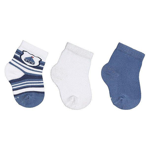 Kit de Meias Baby - 3 Pares - Branco e Azul - 0 à 4 Meses - Lupo