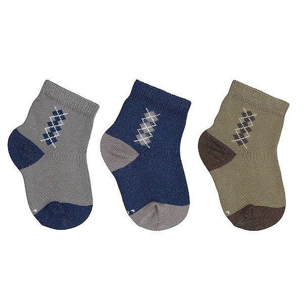 Kit de Meias Baby - 3 Pares - Azul e Verde - Lupo