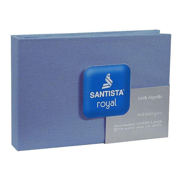 Lençol de Solteiro Royal Liso - Azul - Santista