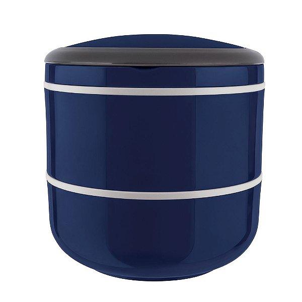 Marmita Lunch Box Dupla Microondas - Azul - Euro Design