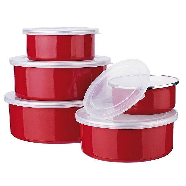 Jogo de Potes Agatha Colors - 5 Peças - Vermelho - Euro Home