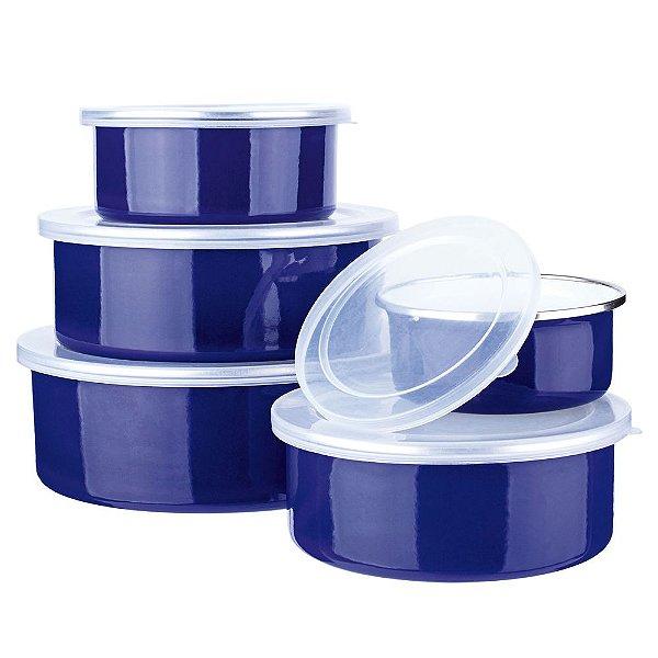 Jogo de Potes Agatha Colors - 5 Peças - Azul - Euro Home