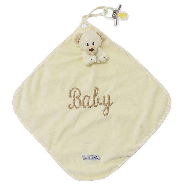 Toalha de Boca Blanket Cetim - Urso Bege - Zip Toys