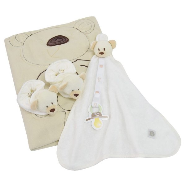 Kit Presente Baby - 3 Peças - Ursinho Bege - Zip Toys
