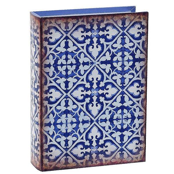 Livro Caixa Decorativa Grande - Ladrilhos Azul - Mart