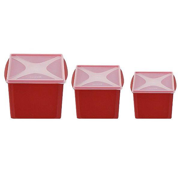 Conjunto de Potes Organizadores 3 Peças - Vermelho - Top Line