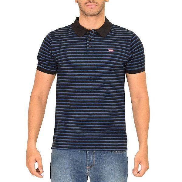 Camiseta Polo Masculina Listrada - Preto e Azul - Levis