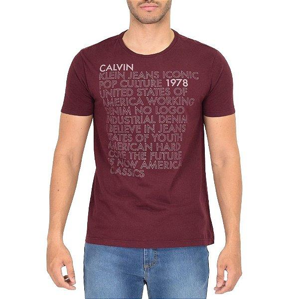 Camiseta Masculina Iconic Pop Culture - Vinho - Calvin Klein