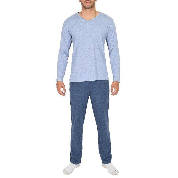 Pijama Masculino Manga Longa - Azul Estampado - Lupo