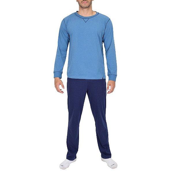 Pijama Masculino Manga Longa - Azul - Lupo