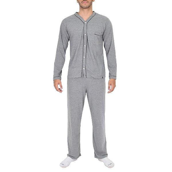 Pijama Masculino Manga Longa Aberto - Cinza - Lupo