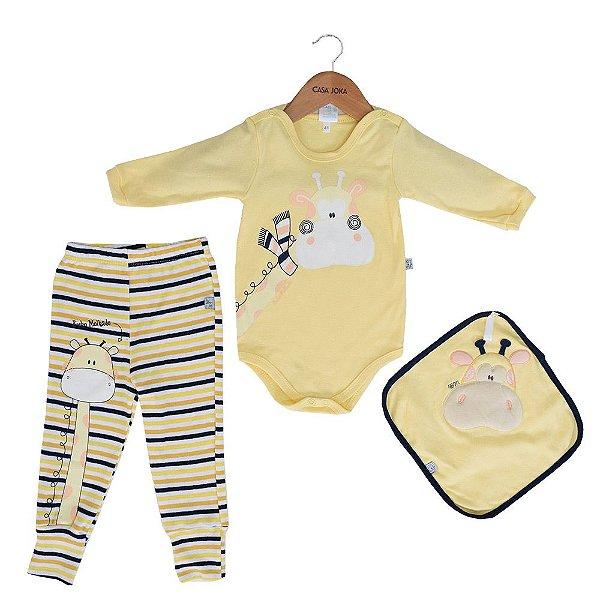 Conjunto Body + Calça + Naninha - Girafinha - Bicho Molhado
