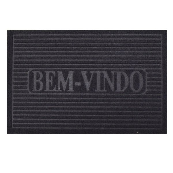 Capacho Bem-Vindo - 38 x 58 cm - Cinza Escuro - Camesa