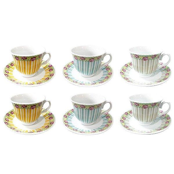 Jogo de Xícaras de Café Coffe Time - 12 Peças - Flores - Dynasty
