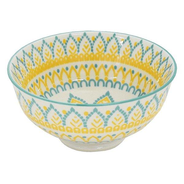 Bowl em Porcelana 280ml - Amarelo Jacquard - Full Fit