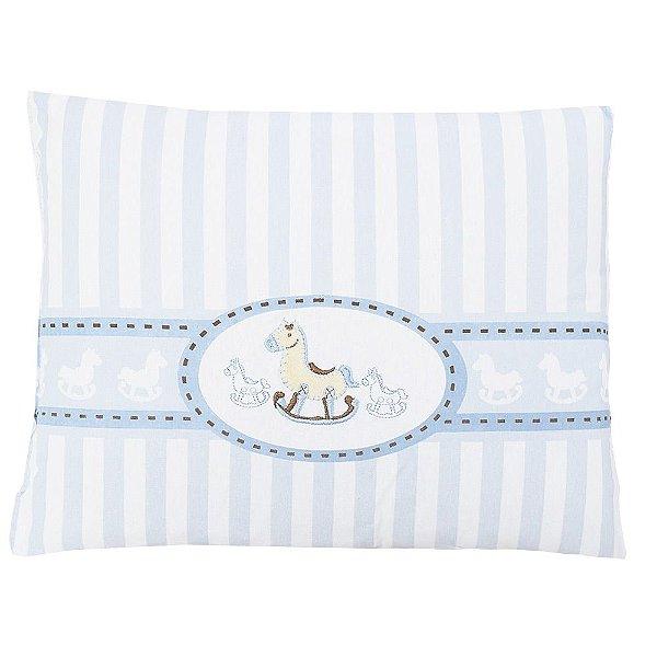Travesseiro de Malha Bordado - Cavalinho Azul - Colibri