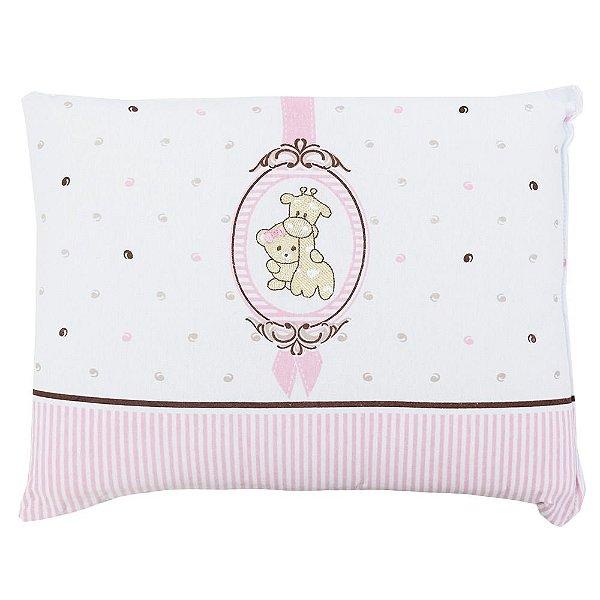 Travesseiro de Malha Bordado - Camafeu Rosa - Colibri