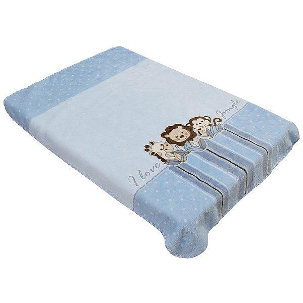 Cobertor Para Berço Le Petit Raschel - Julgle Azul - Colibri