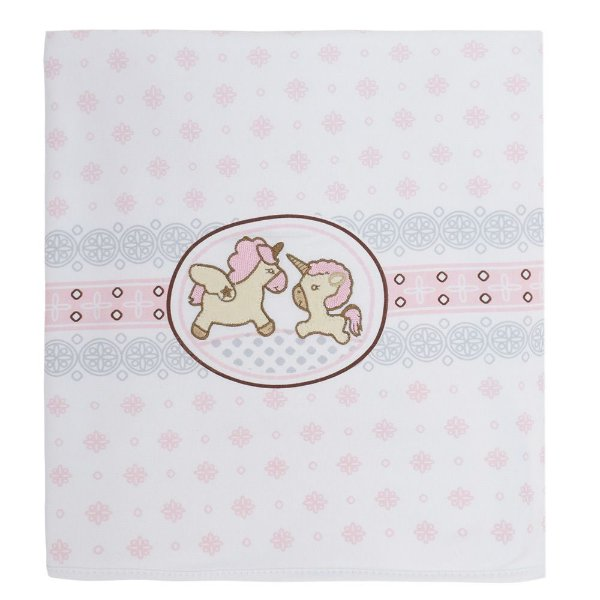 Manta Baby Fleece Bordada - Urnicórnio Rosa - Colibri