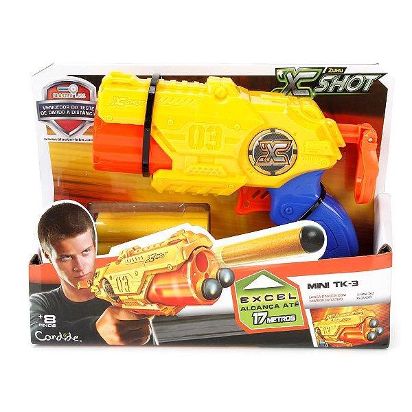 Lançador de Dardos X Shot Micro TK-3 - Amarelo - Candide