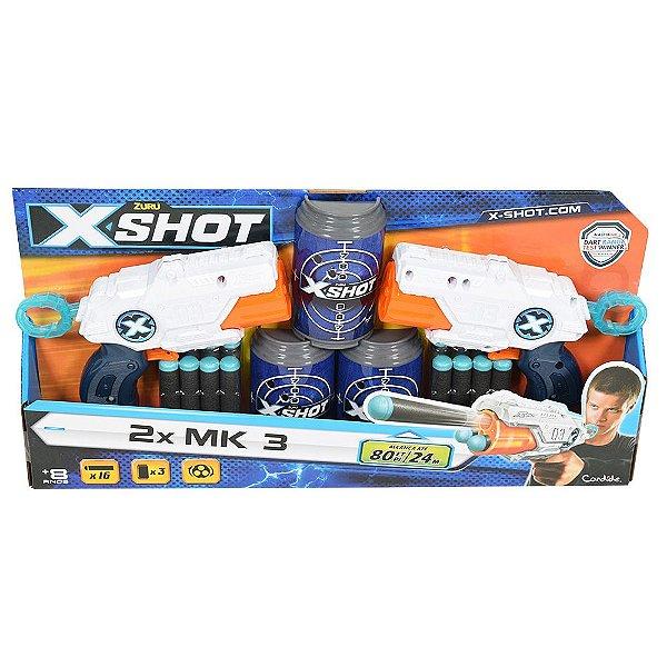 Lançador de Dardos X Shot 2x Barrel Breaker TK-3 Com Alvos - Branco - Candide