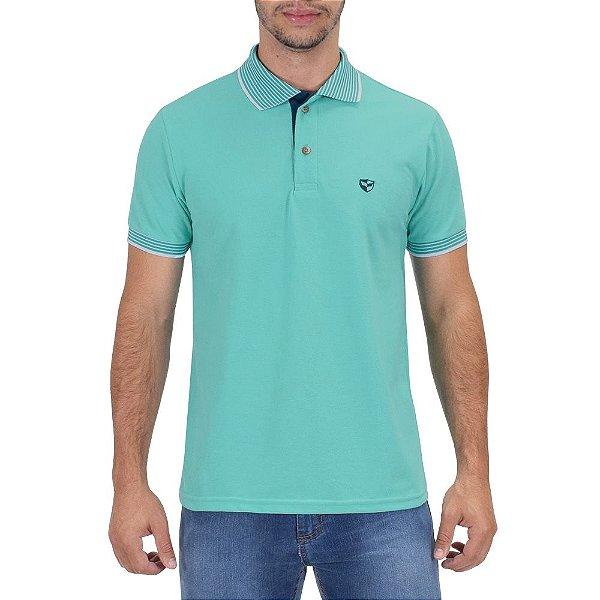 Camisa Polo Masculina Piquet Gola Contraste - Turquesa - Wayna