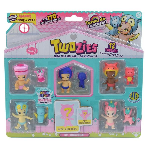 Twozies Blister Kit com 12 Personagens - Série 3 - Barnaby e Breeze - DTC