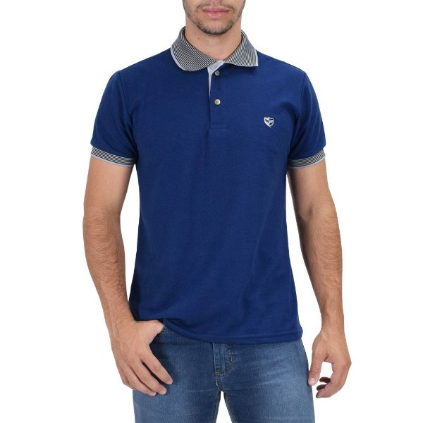 Camisa Polo Masculina Piquet Gola Contraste - Azul - Wayna - Casa Joka b74fcdc34975a