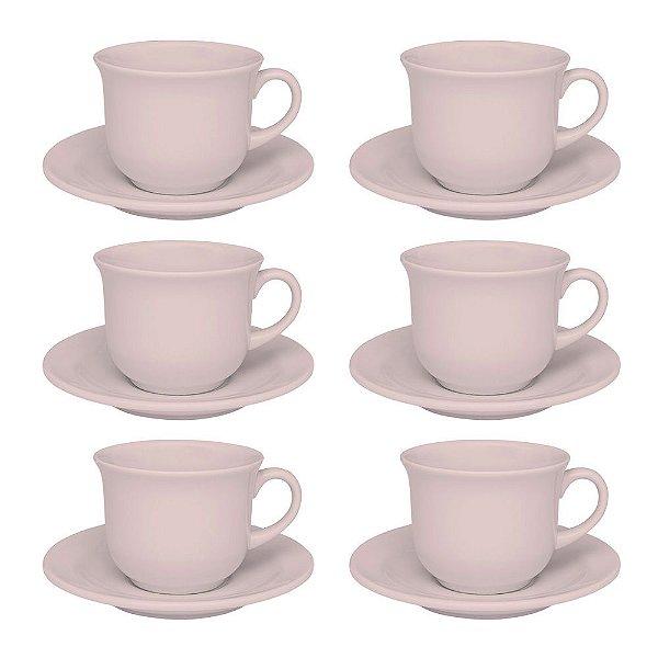 Jogo de Xícaras de Chá Floreal Milenial - 12 Peças - Oxford