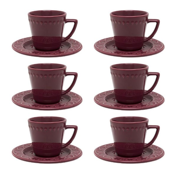 Jogo de Xícaras de Chá Mendi Corvina - 12 Peças - Oxford
