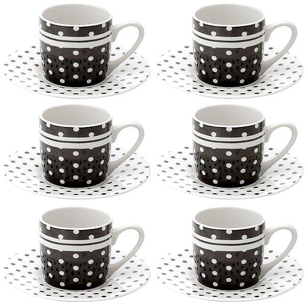Jogo de Xícaras de Café Black Dots Preto - 12 Peças - Lyor