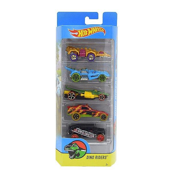 Kit Hot Wheels 5 Unidades - Dino Riders - Mattel