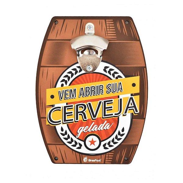 Abridor de Garrafas de Parede - Vem Abrir Sua Cerveja - Brasfoot