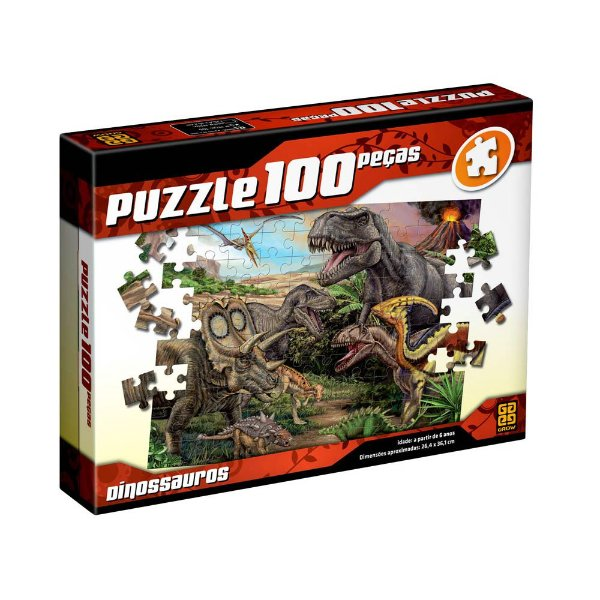Puzzle Dinossauros - 100 Peças - Grow