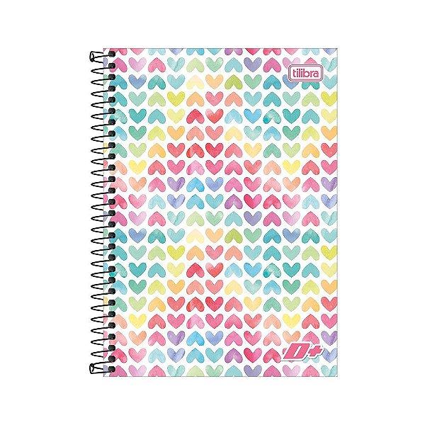 Caderno 1/4 Espiral D+ - Corações - 200 Folhas - Tilibra
