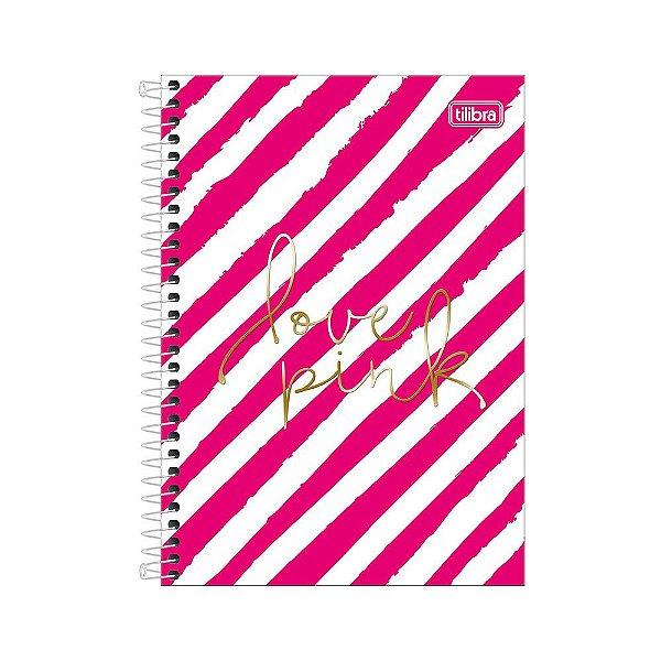 Caderno 1/4 Espiral Love Pink - Listras - 80 Folhas - Tilibra