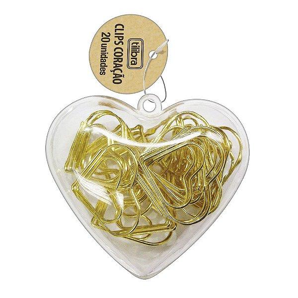 Clips Dourados de Coração - 20 Peças - Tilibra