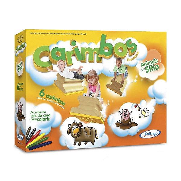 Carimbos Com Giz Para Colorir - Animais do Sítio - Xalingo