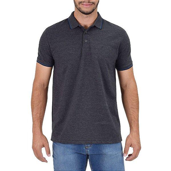 Camisa Polo Básica - Cinza Chumbo e Azul - Ellus