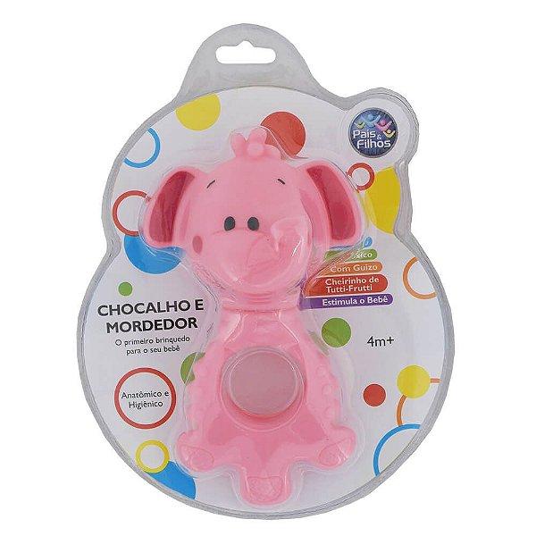 Chocalho e Mordedor - Elefante Rosa - Pais e Filhos