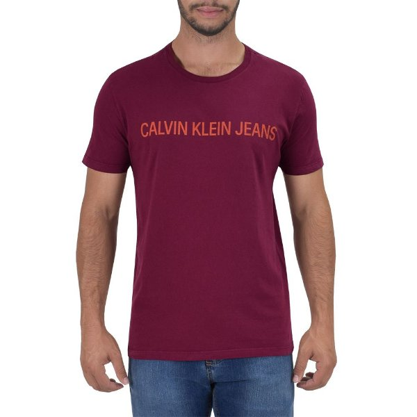 Camiseta Masculina Basic Regular Fit - Marsala - Calvin Klein