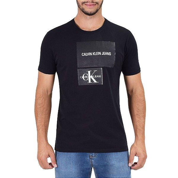 Camiseta Masculina Regular Fit Texturizada - Preta - Calvin Klein