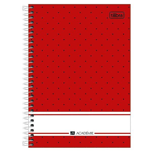 Caderno Académie Poá Vermelho - 1 Matéria - Tilibra