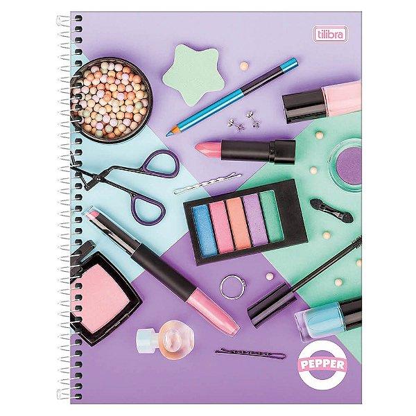 Caderno Pepper Feminino - Maquiagens - 16 Matérias - Tilibra