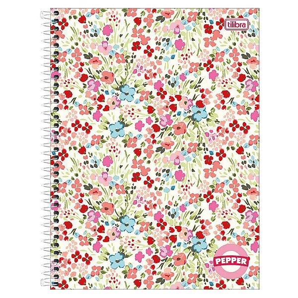 Caderno Pepper Feminino - Flores - 16 Matérias - Tilibra