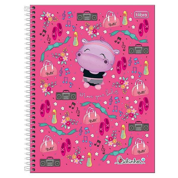 Caderno Bichinhos - Hipopótamo Rosa - 1 Matéria - Tilibra
