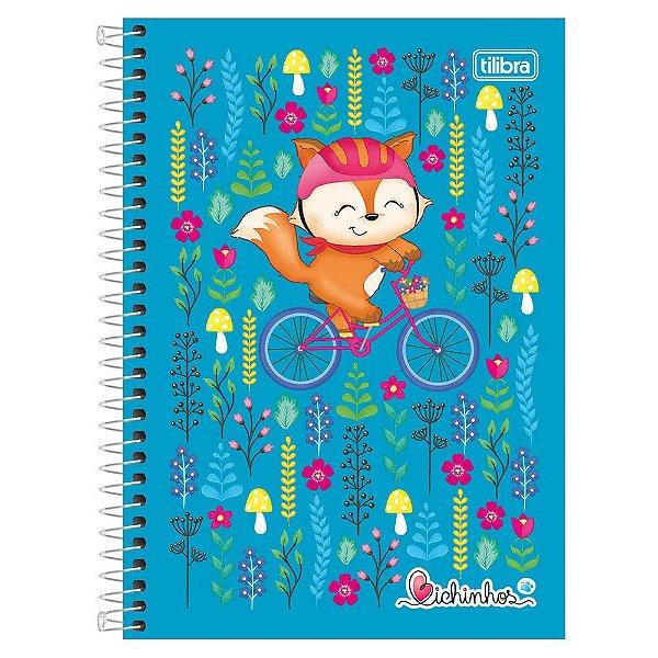 Caderno Bichinhos - Raposa Azul - 10 Matérias - Tilibra