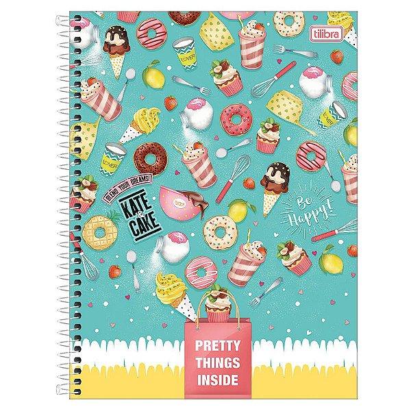 Caderno Kate & Cake - Doces - 10 matérias - Tilibra